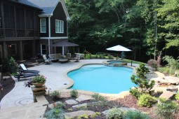 Gunite Pool With Spillover Spa